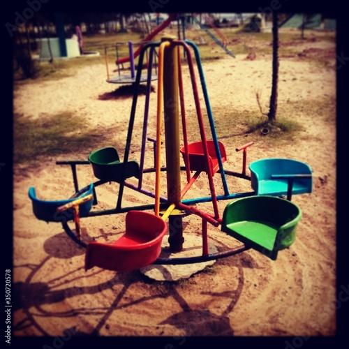Valokuvatapetti Merry Go-round At Playground