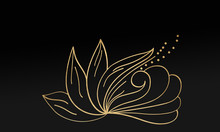 Black Minimalistic Abstract Background. Business Presentation, Web Banner Backdrop. Floral Swirl Elements With Golden Effect.