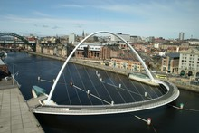 High Angle View Of Gateshead Millennium Bridge Over River Tyne