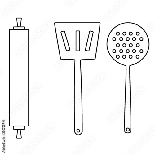 kitchen utensils vector illustration - 350725791