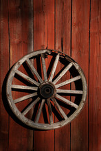 Vintage Wooden Wagon Wheel On ...