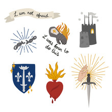 Joan Of Arc Doodle Set Icons, ...