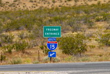 Freeway Entrance South Interstate 15 Signage In The Mojave Desert In California