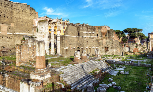 Forum of Augustus in summer, Rome, Italy, it is historic tourist attraction of Rome Canvas Print