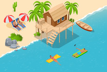 Isometric Summer Vacation Concept. Summer Time. Luxury Overwater Thatched Roof Bungalow In A Honeymoon Vacation Resort In The Clear Blue Lagoon With A View On The Tropical Island. Tropical Vacations