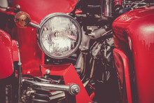 Close-up Of Red Vintage Car Headlight