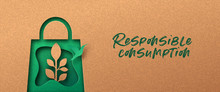 Responsible Consumption Green 3d Papercut Banner