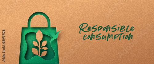 Cuadros en Lienzo Responsible consumption green 3d papercut banner