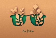 Eco Vision Or Green View 3D Papercut Concept