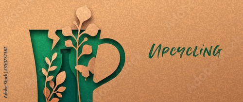 Fototapeta Upcycling green 3D papercut nature banner obraz