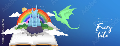 Fotografía Fairy tale book banner papercut castle and dragon
