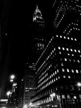Low Angle View Of Illuminated Chrysler Building At Night
