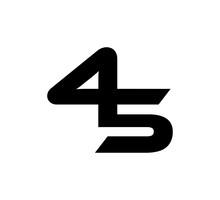 Initial 2 Numbers Logo Modern Simple Black 45