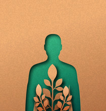 Green Nature Man Papercut Concept With Leaf