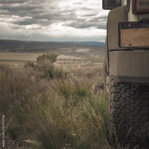 Offroad Jeep in the backcountry traveling overland Canvas Print