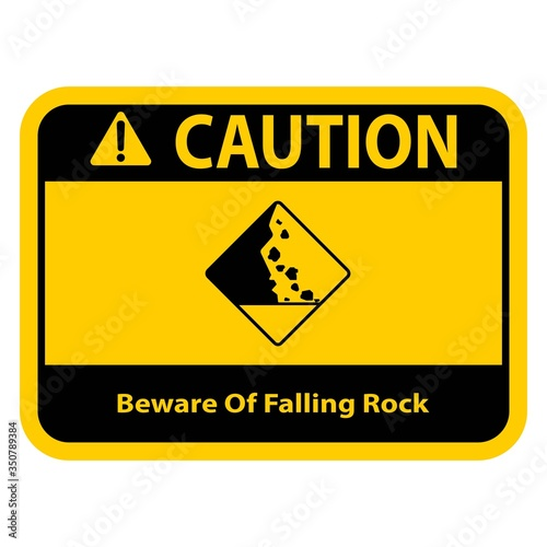Photo Beware Of Falling Rock Vector Sign