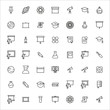 Set of school related vector line icons.