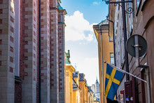 A Swedish Flag Hangs From The ...