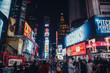 Leinwandbild Motiv Crowd On Illuminated City Street Amidst Buildings At Night