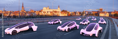 Obraz Vision of the future of fully automated, unified road transport - fototapety do salonu