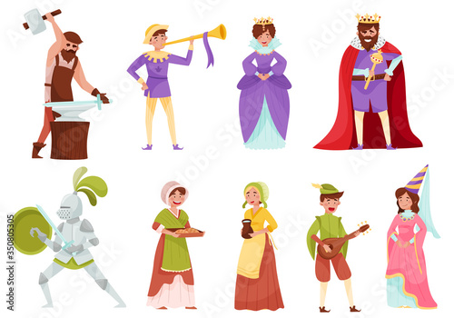 Photo Medieval People Characters with Armoured Knight and Peasant Carrying Milk Vector