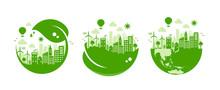 Green Eco City Vector Illustra...