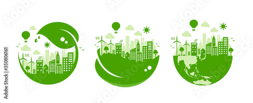Fotografía Green eco city vector illustration set ( ecology concept , nature conservation )