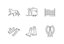Horse Riding Outline Icon Set....