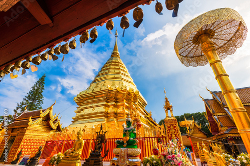 Wat Phra That Doi Suthep is a Buddhist temple is a major tourist attraction Is an ancient Thai art and Public places in Chiang Mai,Thailand Wallpaper Mural