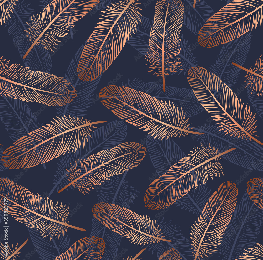 Fototapeta Pattern with gold feathers on a blue background. Suitable for curtains, wallpaper, fabrics, wrapping paper.