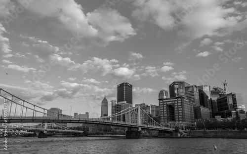 Photo Low Angle View Of Roberto Clemente Bridge Over Allegheny River By City Against S