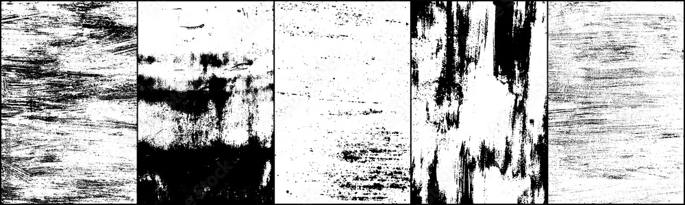 Fototapeta Set of grunge background black and white. Dark texture dirty. Rust effect. Distressed overlay texture of cracked. Halftone vector illustration, Eps 10.