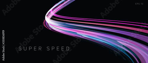 Carta da parati Speed track lights, neon glowing lines abstract composition, gradient purple cur