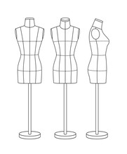 Mannequin For Sewing And Modeling, Front, Back And Side. Black Outline.