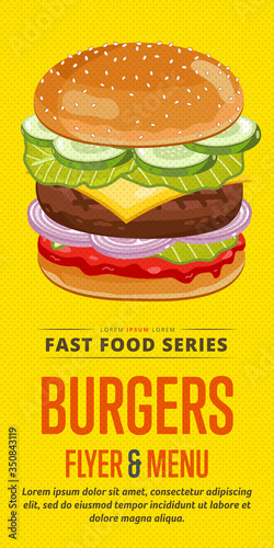 Fototapeta Burger menu flyer design template. Template flyer for fast food. Illustration burger with abstract text for future design. obraz