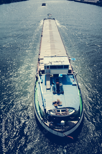 Fotografiet High Angle View Of Barge On Rhine River