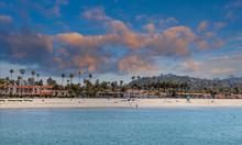 Palm Trees And Resort On Santa Barbara Beach
