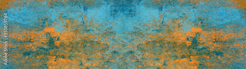 Blue orange rustic abstract concrete stone metal steel texture background panorama banner Long (complementary Colors)