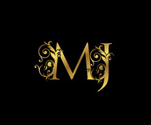 Luxury Gold M,J And MJ Letter Floral Logo. Vintage Swirl Drawn Emblem For Weeding Card, Brand Name, Letter Stamp, Restaurant, Boutique, Hotel.