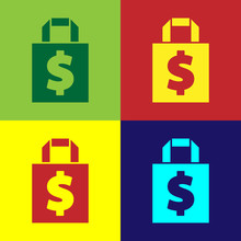 Pop Art Shoping Bag And Dollar...