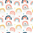 Vector seamless pattern with cute rainbows