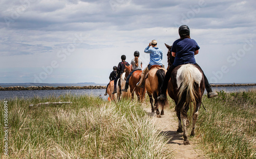 horses and riders on the beach on a beautiful afternoon Canvas Print