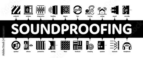 Fotografia, Obraz Soundproofing Building Material Minimal Infographic Web Banner Vector
