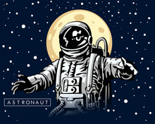 Astronaut At Spacewalk , Spacesuit, Hand Drawn Sketch Design Illustration.Cosmic Art, Science Fiction Wallpaper, Black And White Illustration