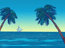 Night Beach Resort Palm Trees Sea