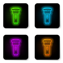 Glowing Neon Line Flashlight Icon Isolated On White Background. Black Square Button. Vector Illustration
