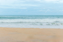Sandy Beach Blue Sky And White...