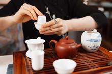 Chinese Tea Ceremony. Girl Making Chinese Tea