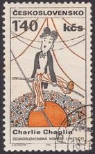 Friendly Caricature Charlie Chaplin Funambulist. World Culture Personalities - UNESCO, Stamp Czechoslovakia 1968