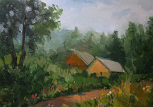 Houses In Summer, Country Life, Oil Painting